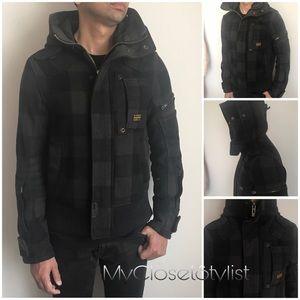 G STAR RAW Jacket Coat Plaid Wool Bomber Hood S M